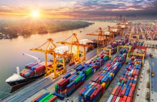Container-ships loading freight in shipyard