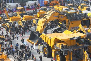 Mining trucks at the open-air area