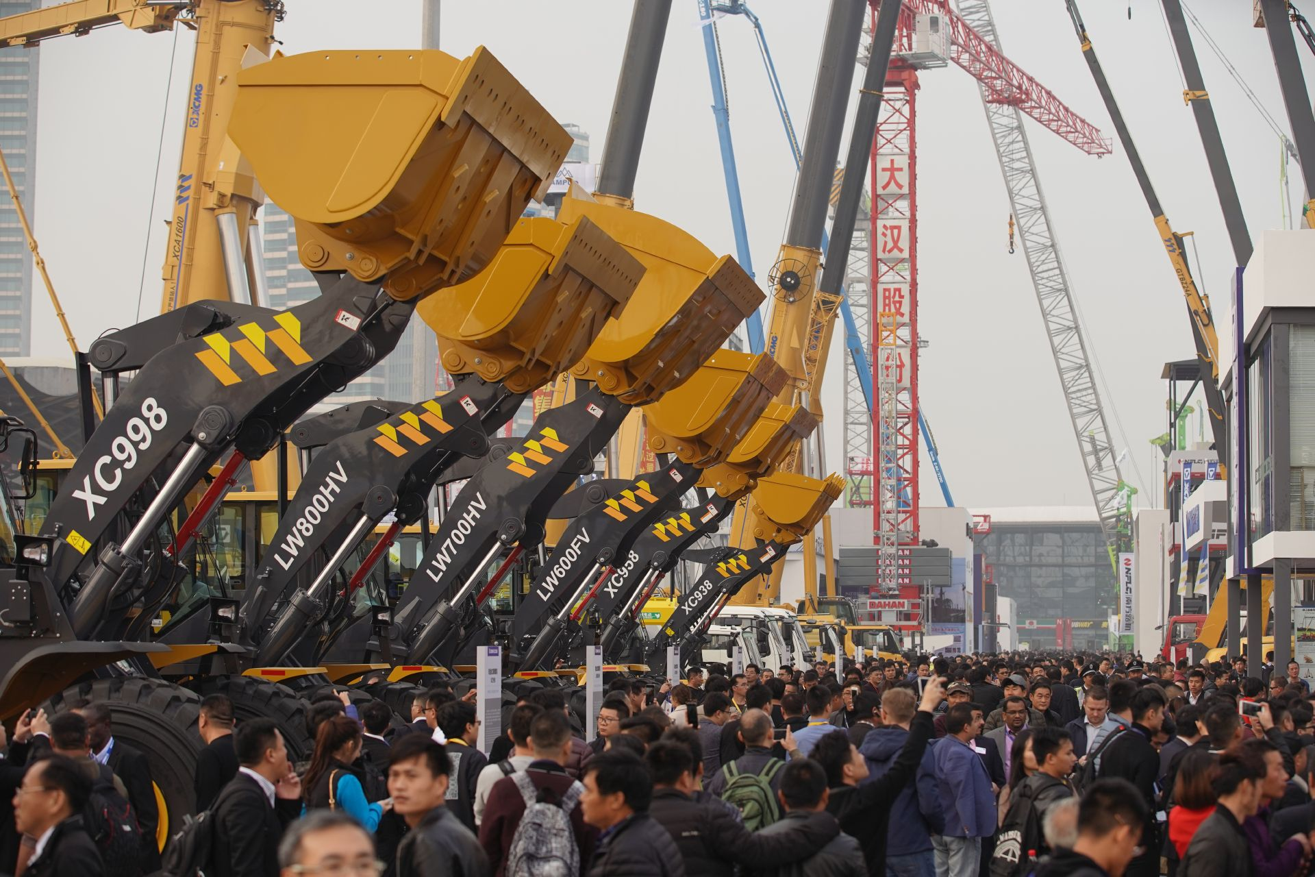 Excavator shovels at the open-air area