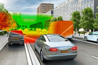 The 3D Flash LIDAR constructs a complete 3D model of the vehicle surround-ings up to 200 meters away and as close as a few centimeters, in just 1.32 microseconds, 30 times per second.