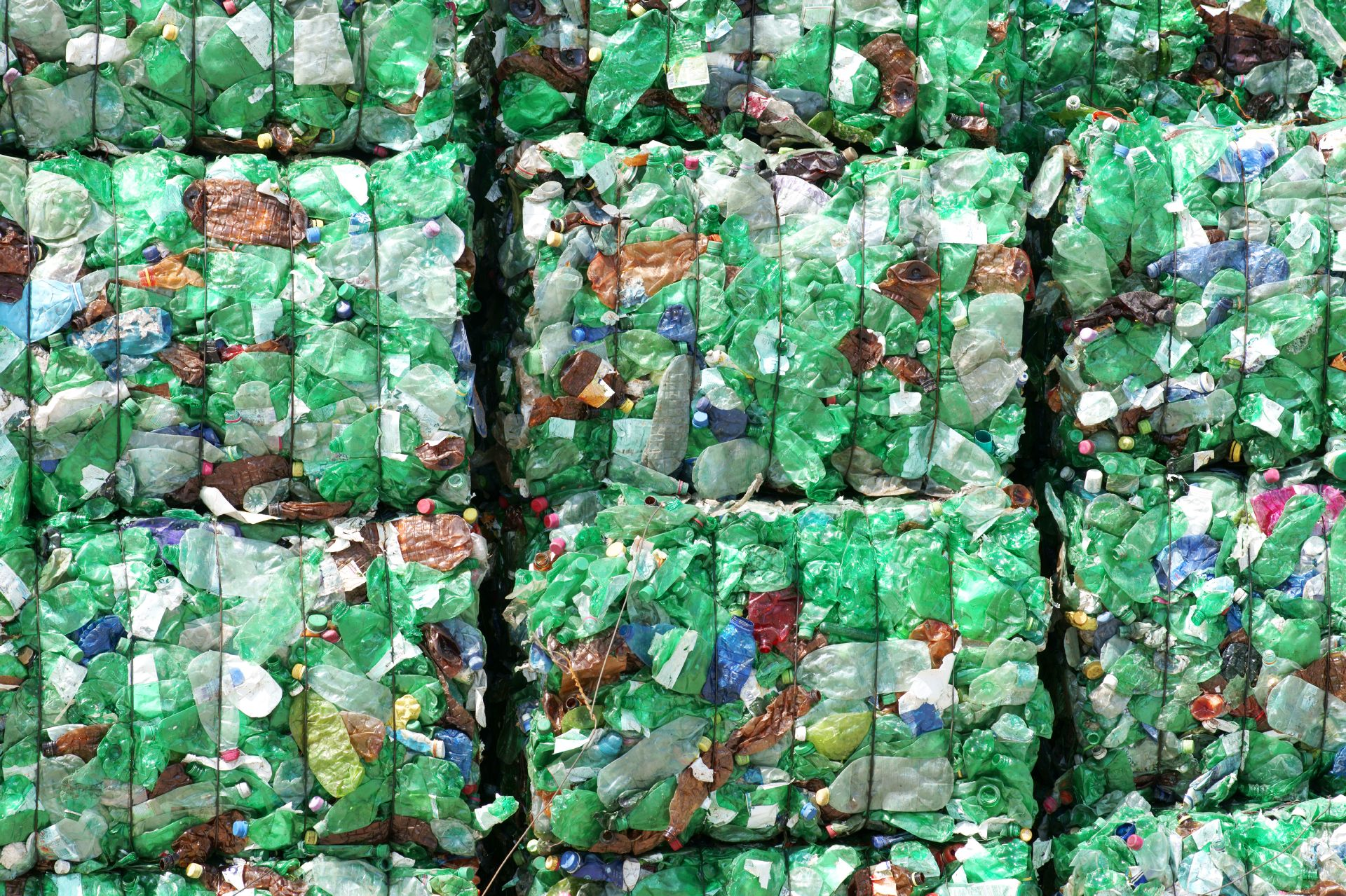 green plastic bottles