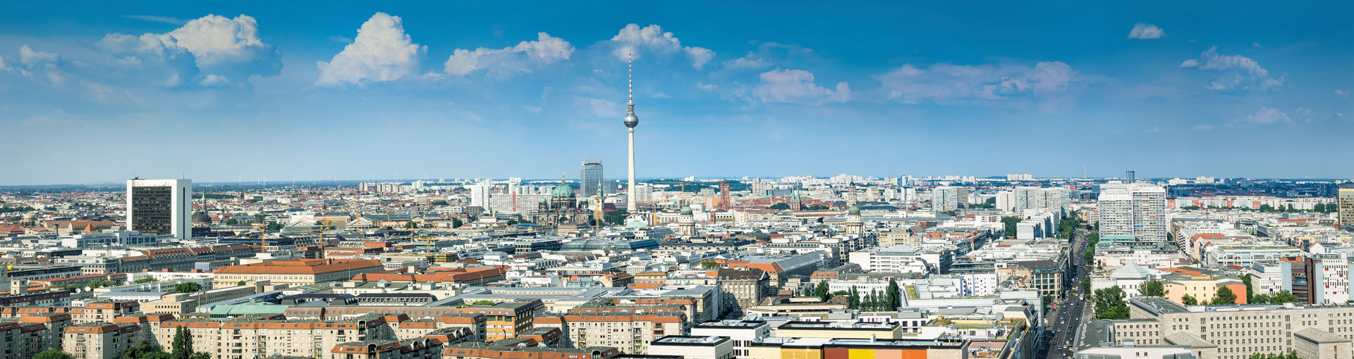 Panorama of the Berlin skyline, Germany with television tower, Berlin Cathedral and Leipziger Straße